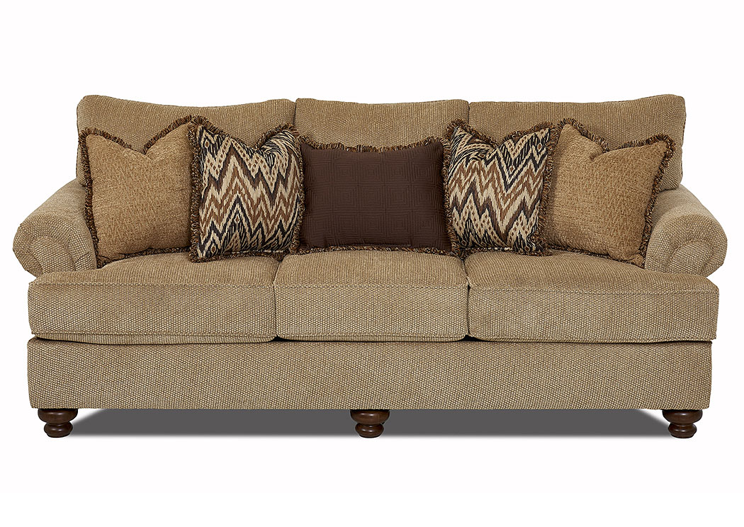 Greenvale Frenzy Cashmere Fabric Stationary Sofa,Klaussner Home Furnishings