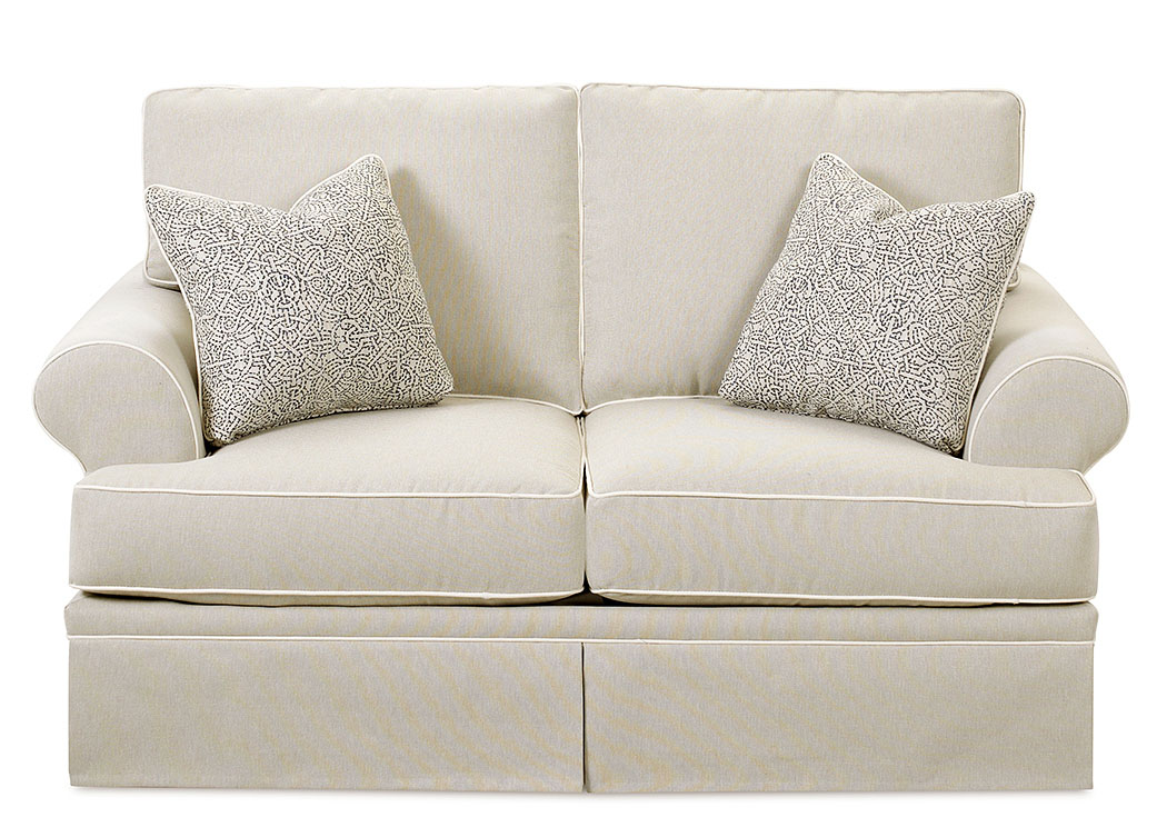 Westerly Canvas Taupe Stationary Fabric Loveseat,Klaussner Home Furnishings