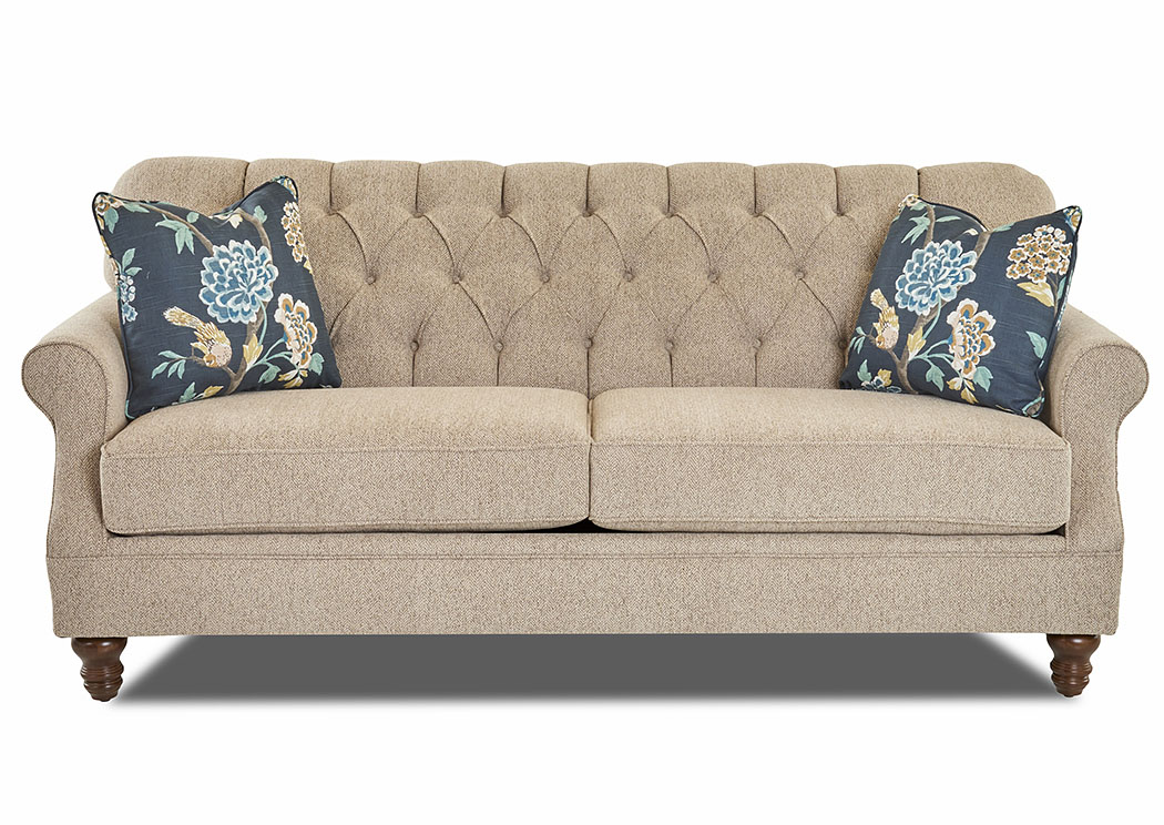 Burbank Beige Stationary Fabric Sofa,Klaussner Home Furnishings
