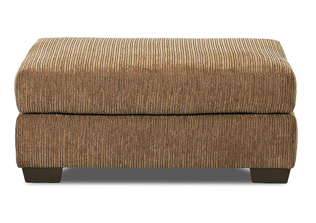 Tiburon Buster Chestnut Brown Stationary Fabric Ottoman,Klaussner Home Furnishings