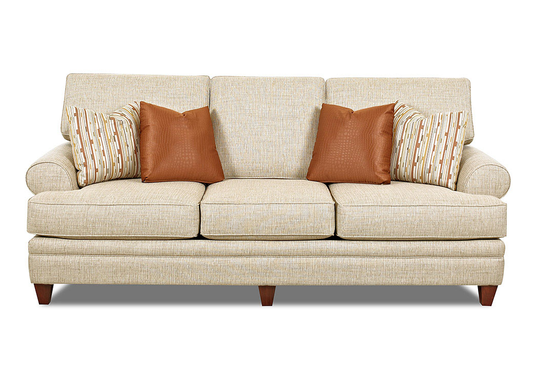 Fresno Toluca-Straw Stationary Fabric Sofa,Klaussner Home Furnishings