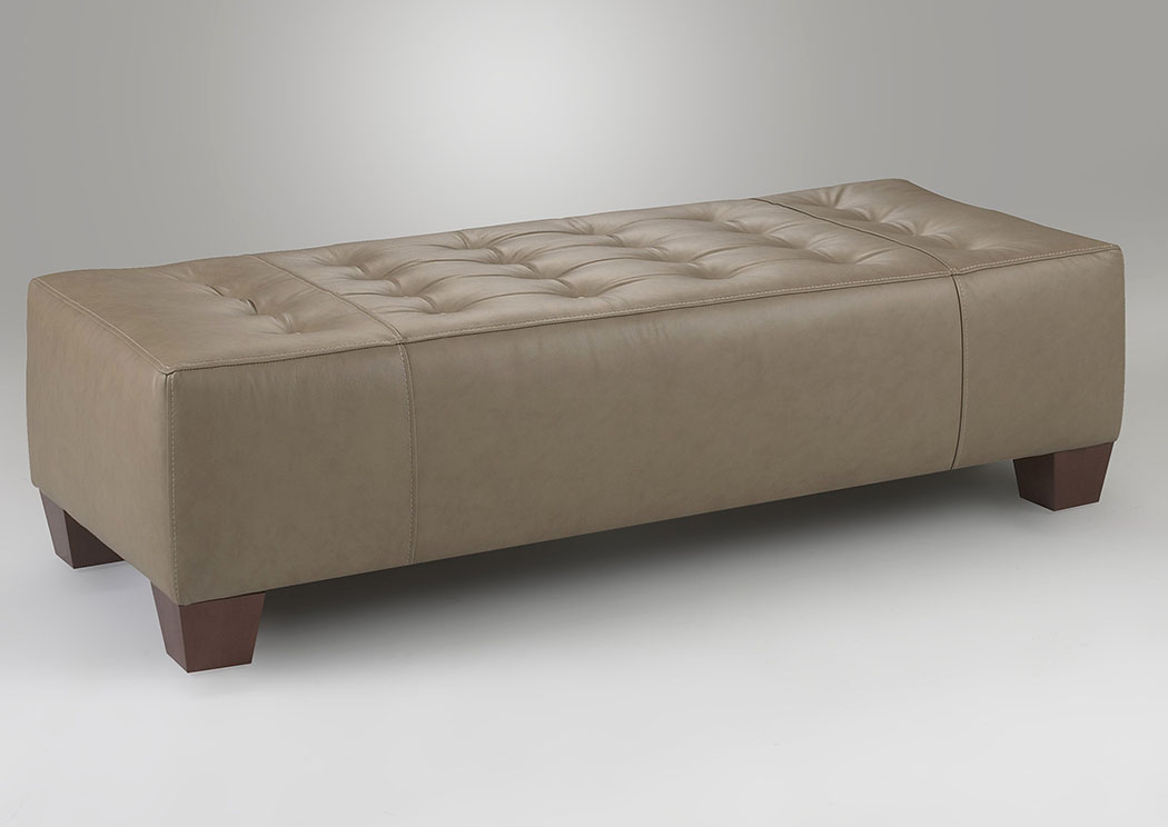 Wayne Manor Ash Beige Leather Ottoman,Klaussner Home Furnishings