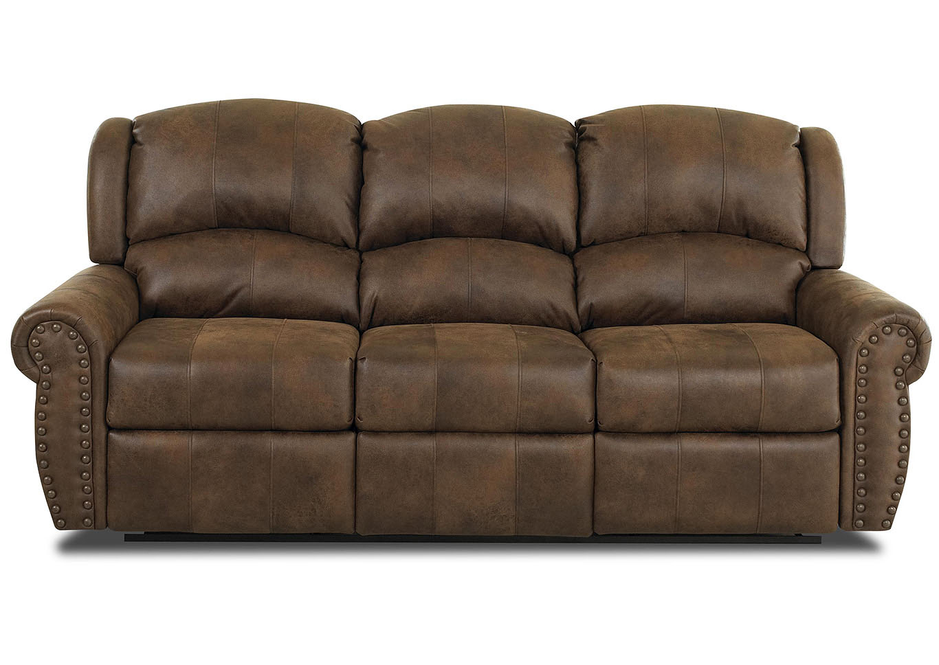 Mcalister Rust Brown Reclining Fabric & Leather Sofa,Klaussner Home Furnishings