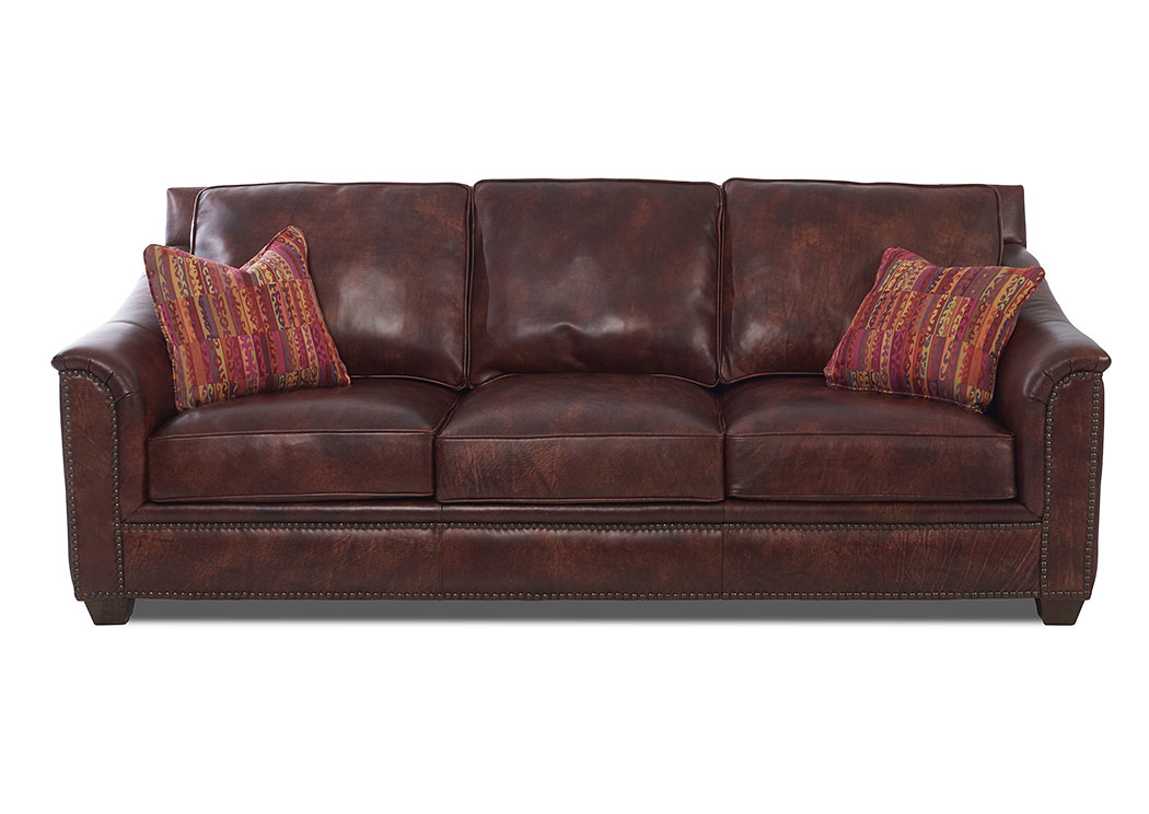 Wilkesboro Burgundy Faux Leather Stationary Sofa,Klaussner Home Furnishings