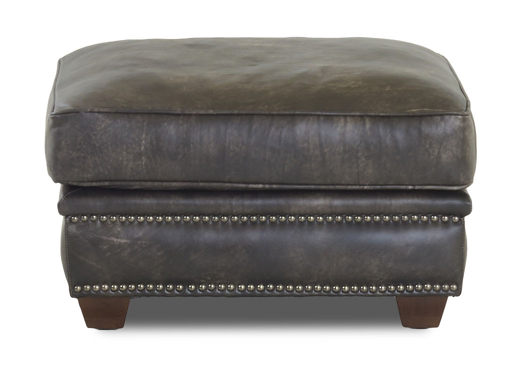 Wilkesboro Legends Stormcloud Brown Leather Ottoman,Klaussner Home Furnishings