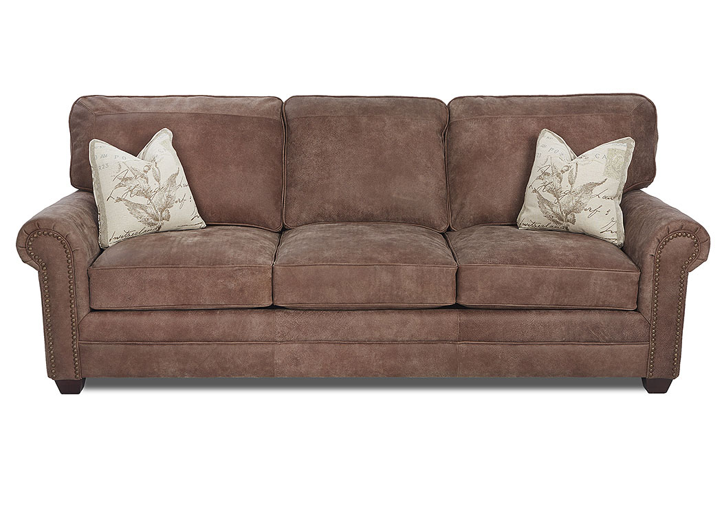 Epic Mocha Leather Stationary Sofa,Klaussner Home Furnishings