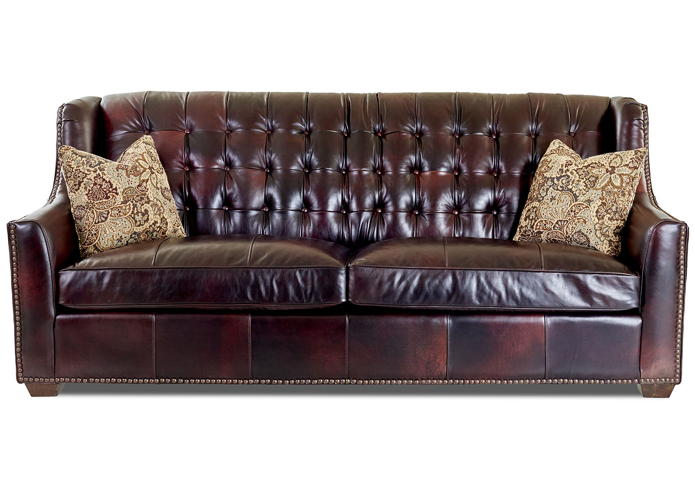 Pennington Chestnut Brown Leather Stationary Sofa,Klaussner Home Furnishings