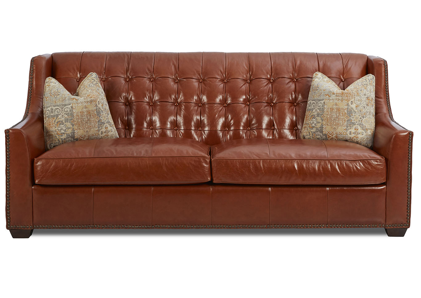Pennington Brown Leather Stationary Sofa,Klaussner Home Furnishings