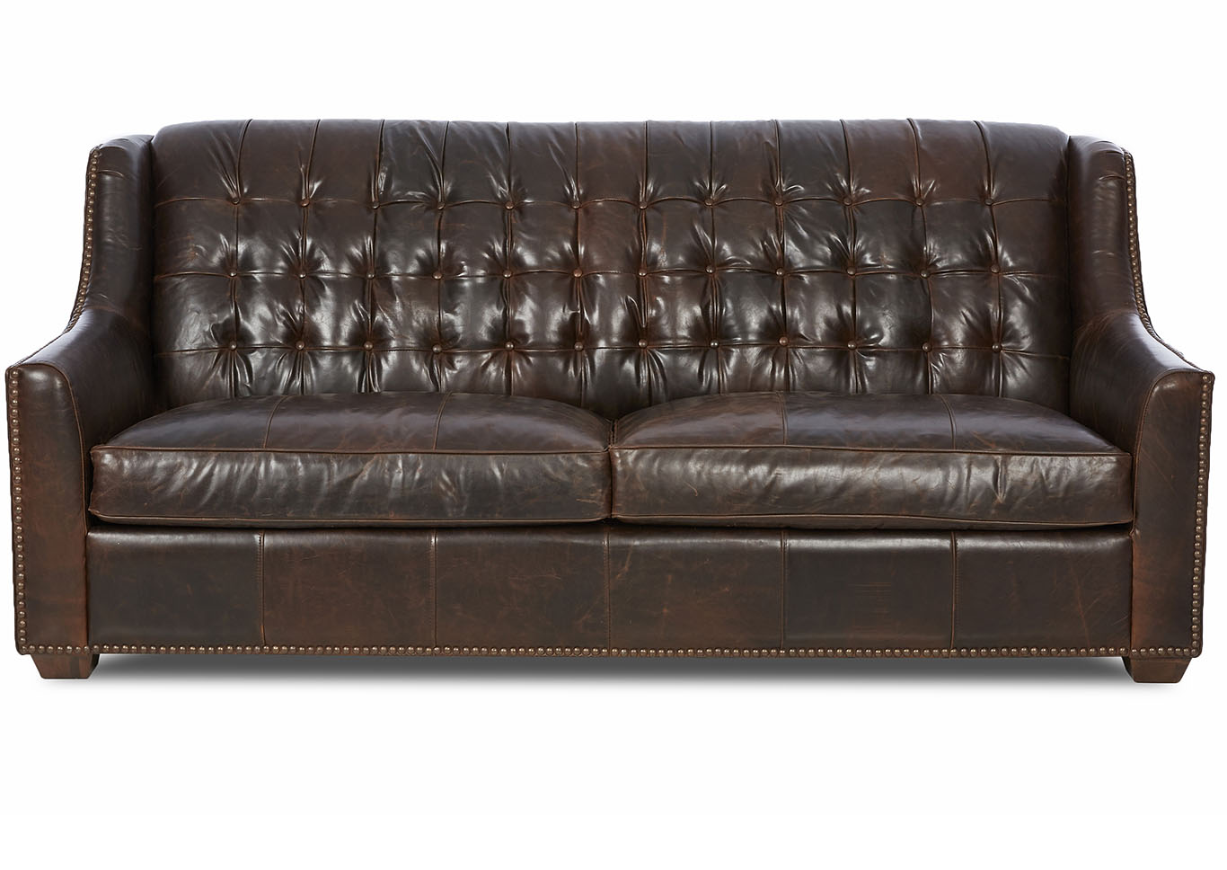 Pennington Dark Brown Leather Stationary Sofa,Klaussner Home Furnishings