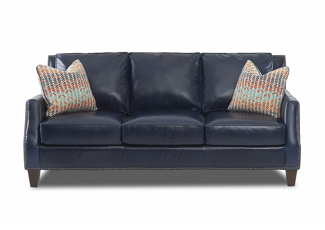 Carteret Rex Widsor Blue Leather Stationary Sofa,Klaussner Home Furnishings