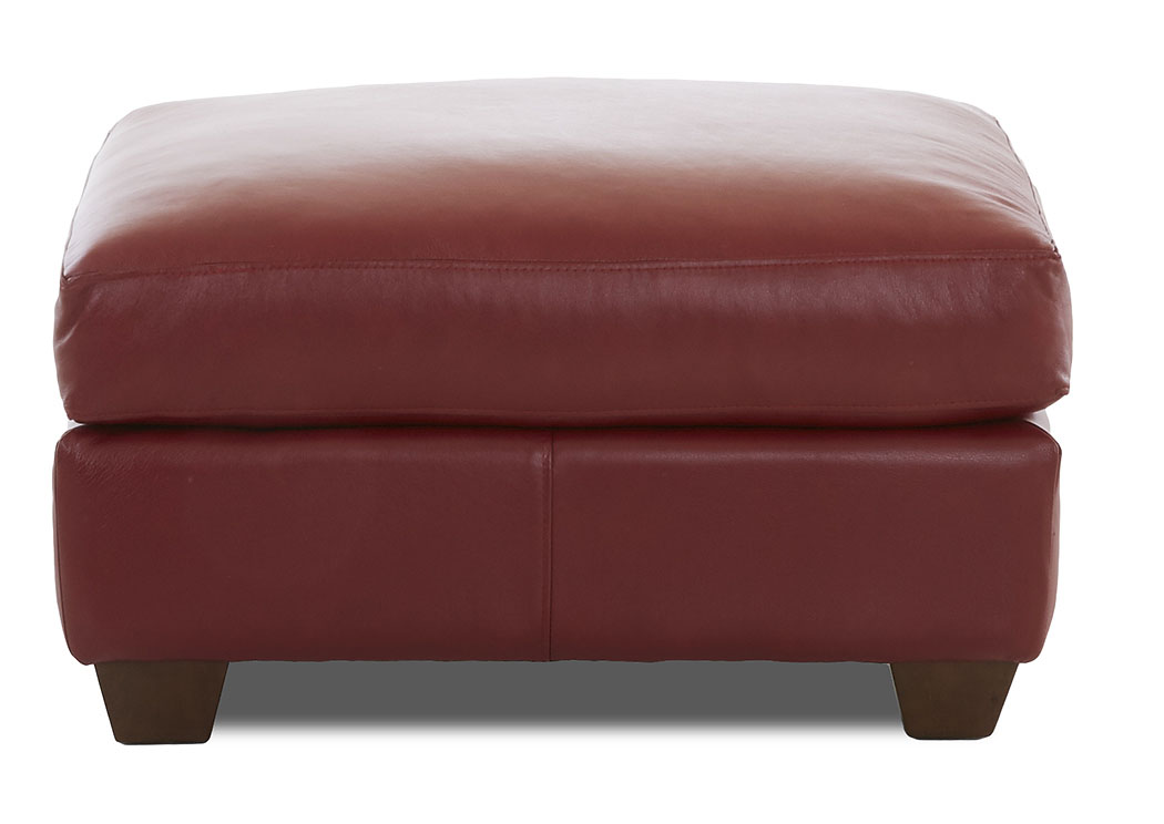 Moorland Durango Strawberry Leather Ottoman,Klaussner Home Furnishings