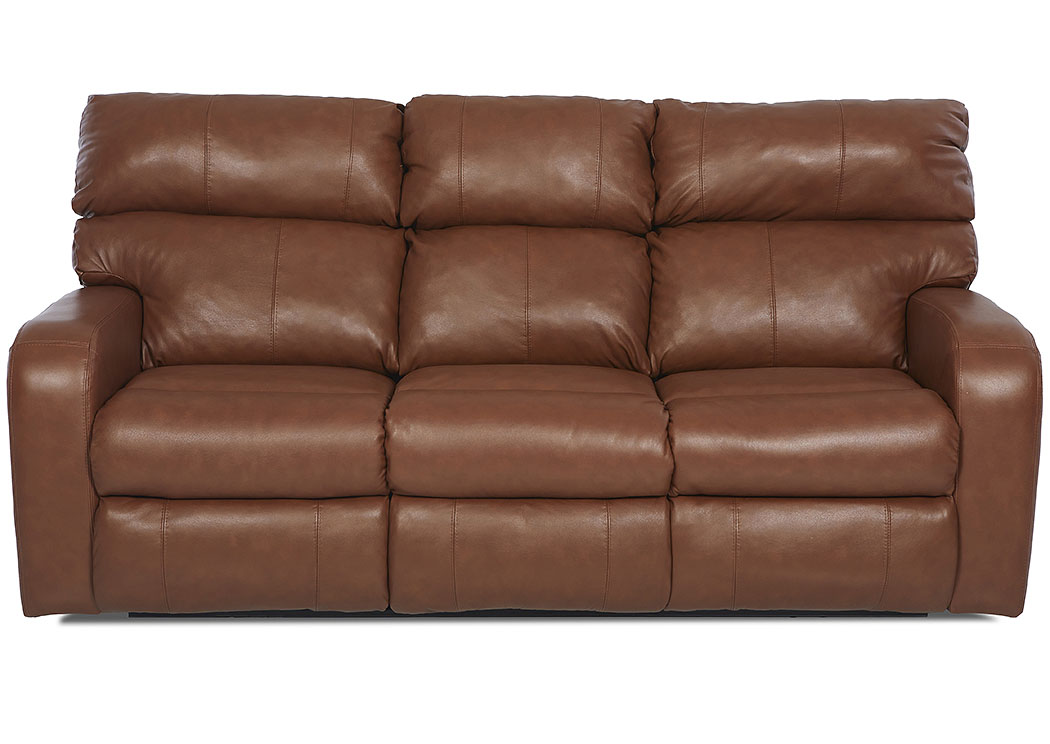 Bradford  Acorn Brown Power Reclining Fabric & Leather Sofa,Klaussner Home Furnishings
