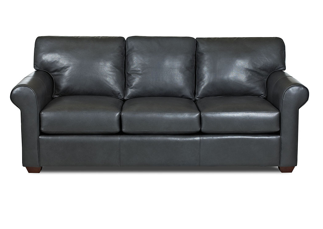 Canoy Steamboat Charcoal Leather Stationary Sofa,Klaussner Home Furnishings