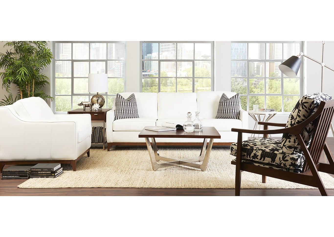 Anson Leather Stationary Loveseat,Klaussner Home Furnishings