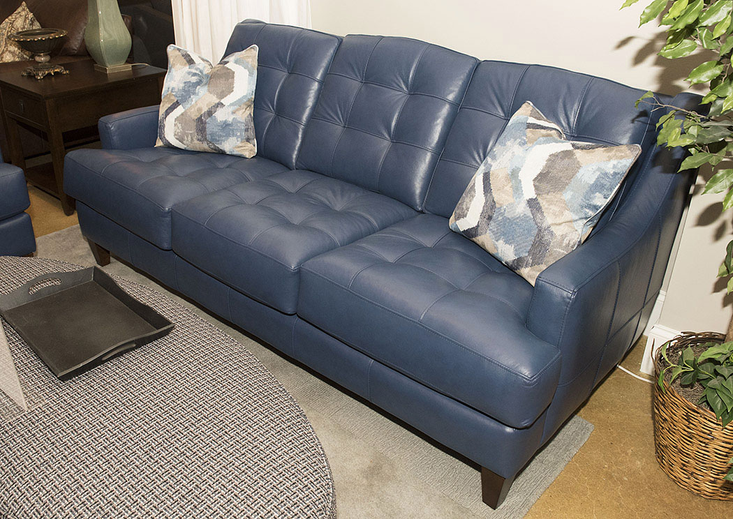 Pinson Blue Leather Stationary Sofa Best Buy Furniture And Mattress