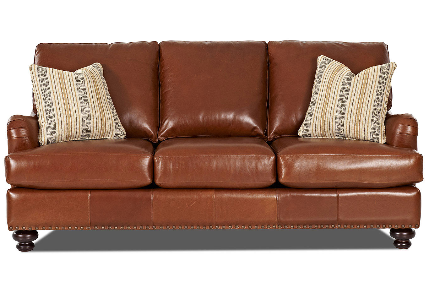 Loxley Chestnut Brown Leather Stationary Sofa,Klaussner Home Furnishings