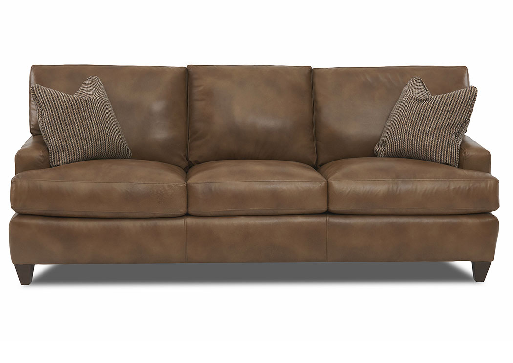 Cassio Alfresco Hickory Leather Stationary Sofa,Klaussner Home Furnishings