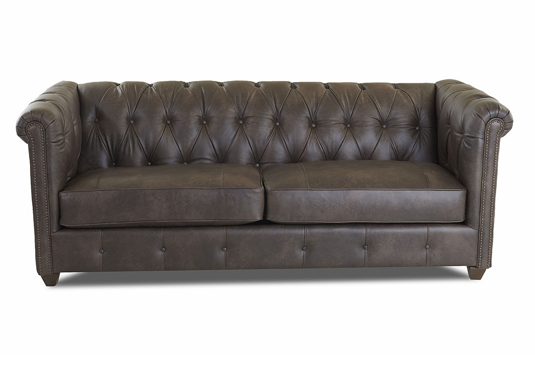 Beech Mountain Vintage Flint Brown Leather Stationary Sofa,Klaussner Home Furnishings
