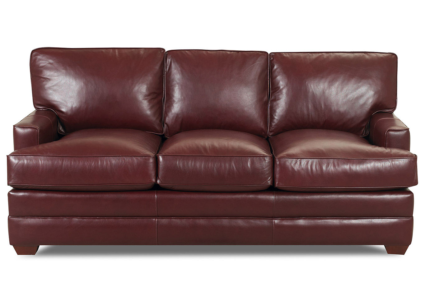 Pantego Burgundy Leather Stationary Sofa,Klaussner Home Furnishings