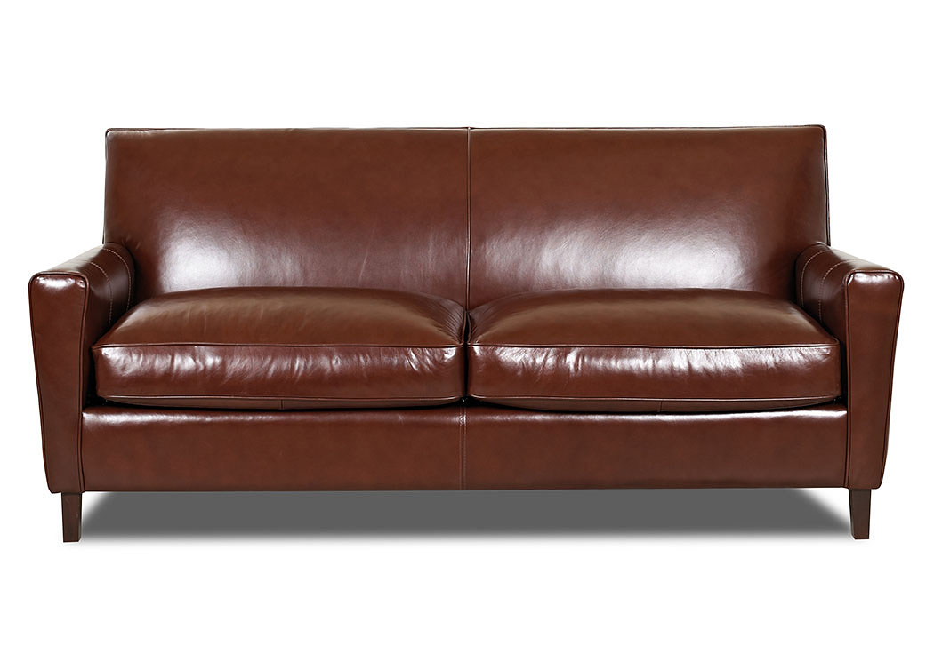 Goldie Whiskey Leather Stationary Sofa,Klaussner Home Furnishings