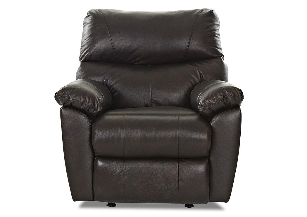 Odessa Black Reclining Leather & Vinyl Chair,Klaussner Home Furnishings