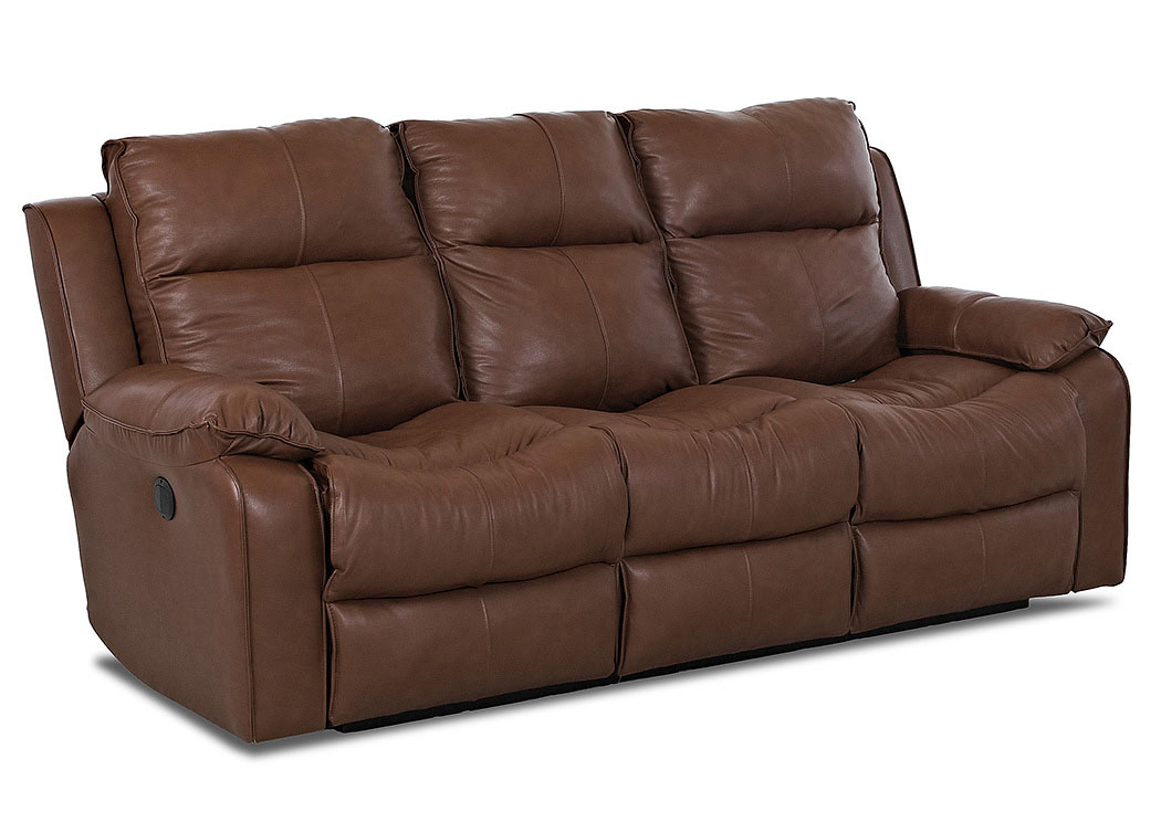 Castaway Durango Acorn Power Reclining Leather & Vinyl Sofa,Klaussner Home Furnishings