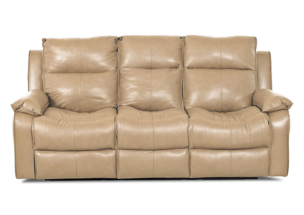 Castaway Durango Almond Reclining Leather & Vinyl Sofa,Klaussner Home Furnishings