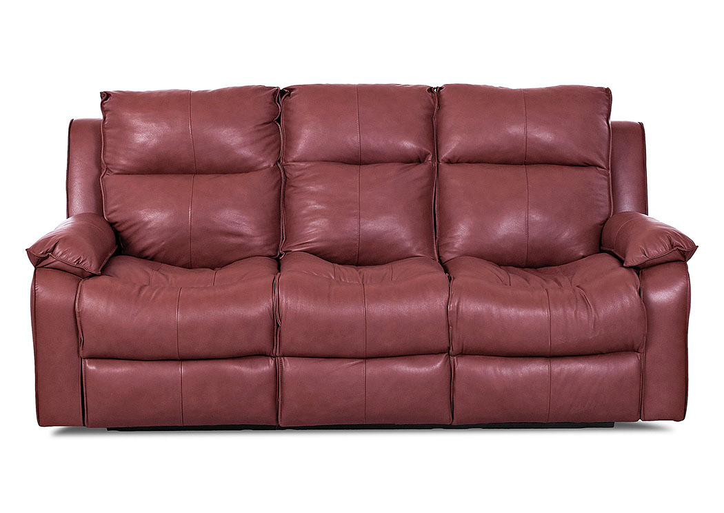 Castaway Durango Strawberry Reclining Leather & Vinyl Sofa,Klaussner Home Furnishings