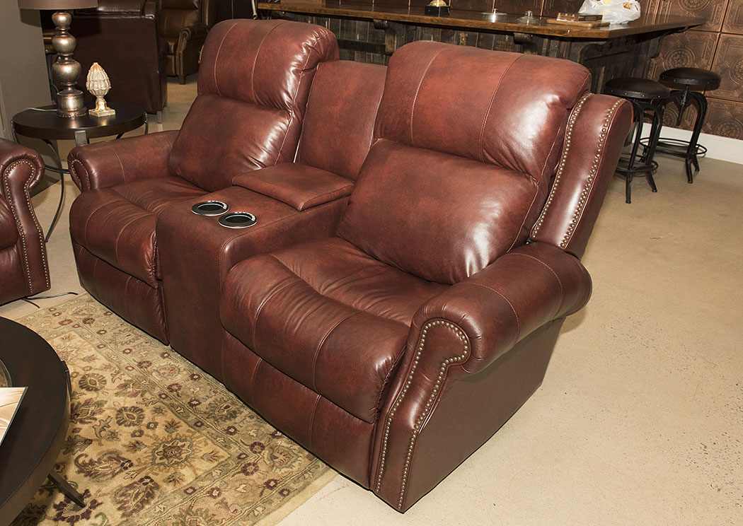 Vivio Steamboat Oxblood Leather & Vinyl Power Reclining Loveseat,Klaussner Home Furnishings