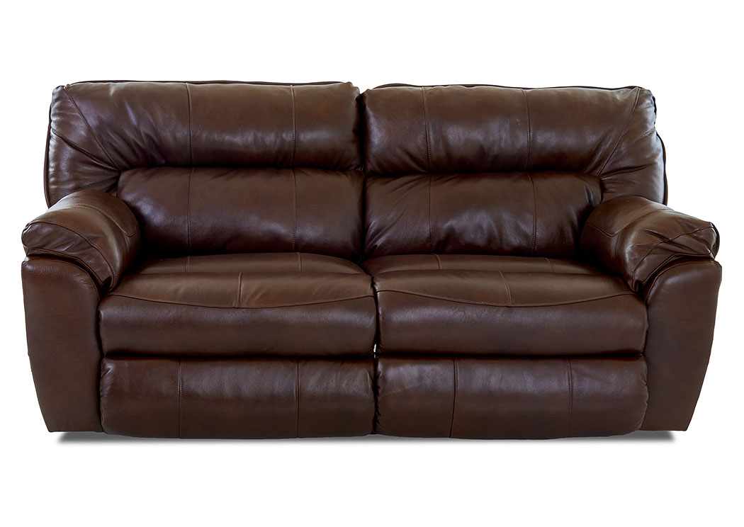 Freeman Chestnut Power Reclining Leather & Vinyl Sofa,Klaussner Home Furnishings