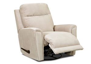 Image for Priest White Fabric Reclining Swivel Chair