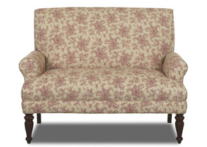 Teasdale Paris Red Floral Stationary Fabric Loveseat