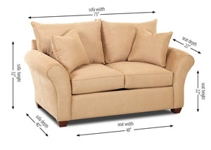Fletcher Beige Stationary Fabric Loveseat