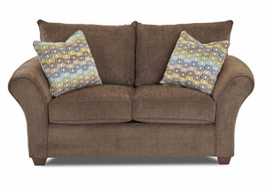 Fletcher Mogo Chocolate Stationary Fabric Loveseat