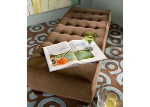 Wayne Manor Medium Brown Fabric Ottoman
