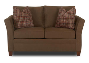 Taylor Microsuede Chocolate Stationary Fabric Loveseat