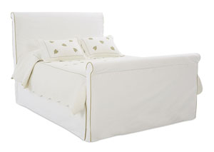 Image for Midland White Upholstered Sleigh Queen Bed