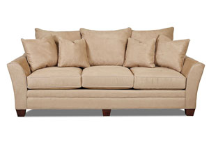 Posen Microsuede Camel Beige Stationary Fabric Sofa
