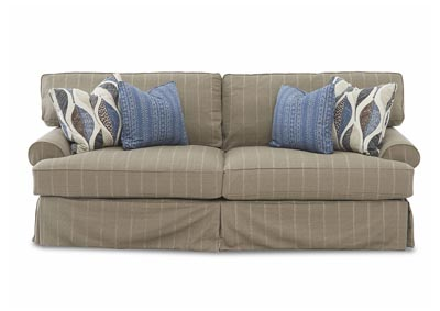 Lahoya Brown Striped Stationary Fabric Sofa