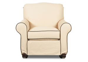 Old Town White Oatmeal Rocking Fabric Chair