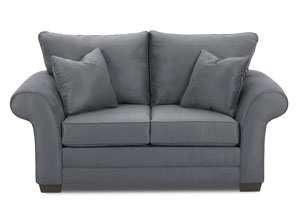 Holly Microsuede Charcoal Stationary Fabric Loveseat