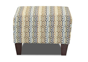 Tanner Extinction Pattern Stationary Fabric Ottoman