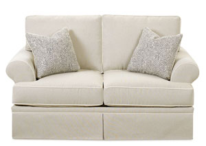 Westerly Canvas Taupe Stationary Fabric Loveseat