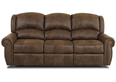 Mcalister Rust Brown Reclining Fabric & Leather Sofa