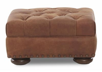 Aspen Stationary Leather Ottoman