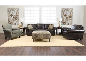Moorland Abilene Chocolate Leather Stationary Sofa