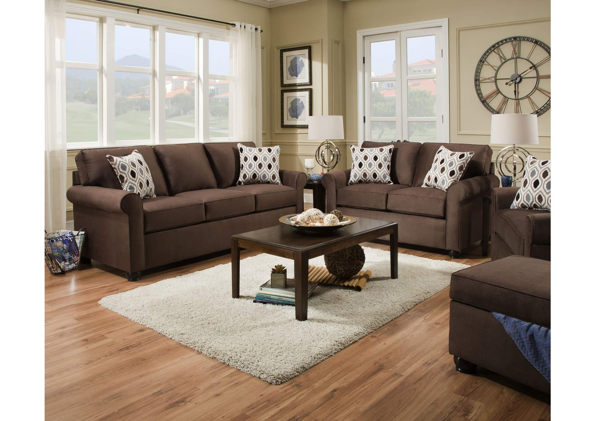 1530 Sofa - Jojo Chocolate / Preston Mocha,Lane Furniture