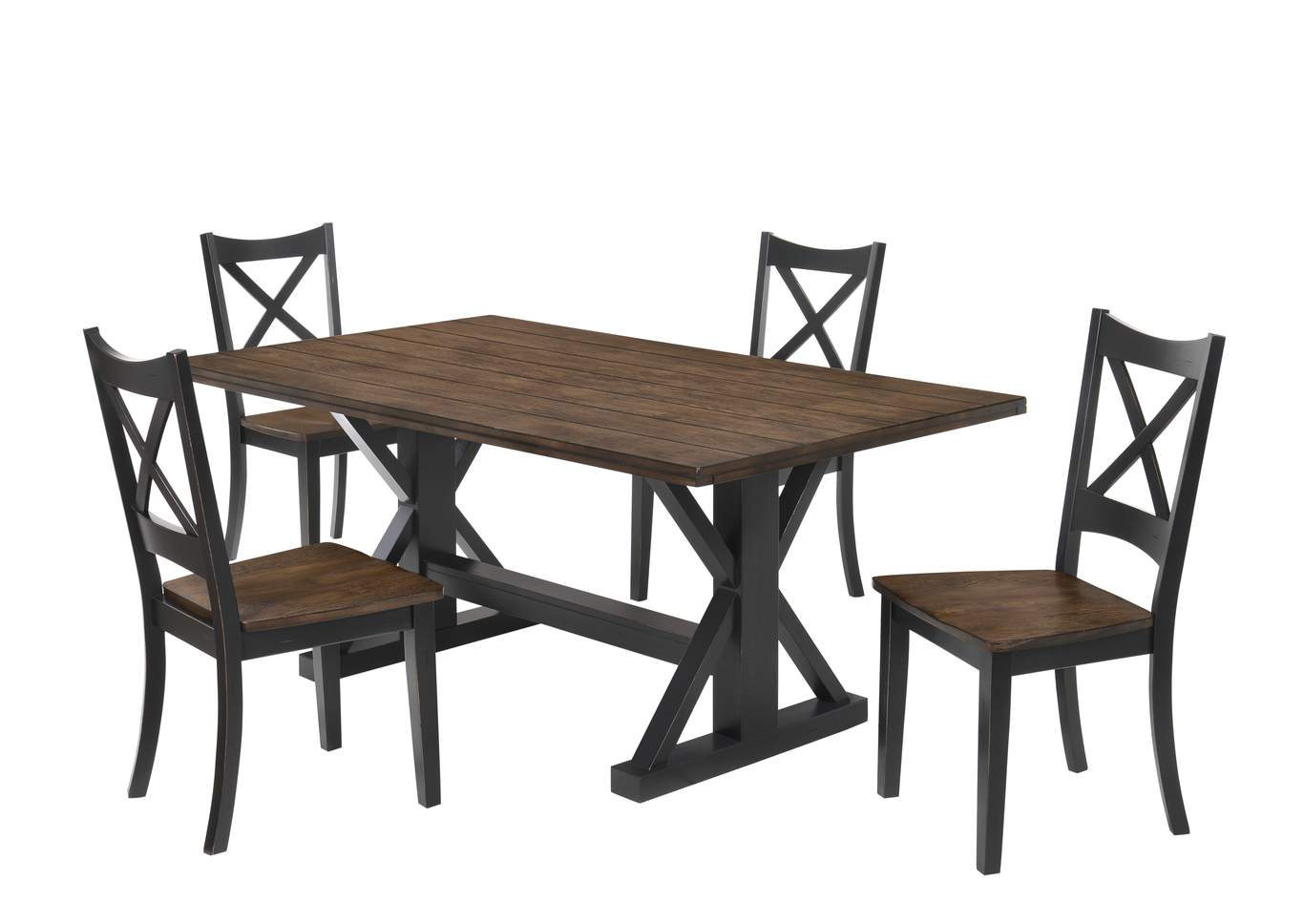 Picture of: 5015 Dining Table Black Rustic Oak Furniture City Dayton