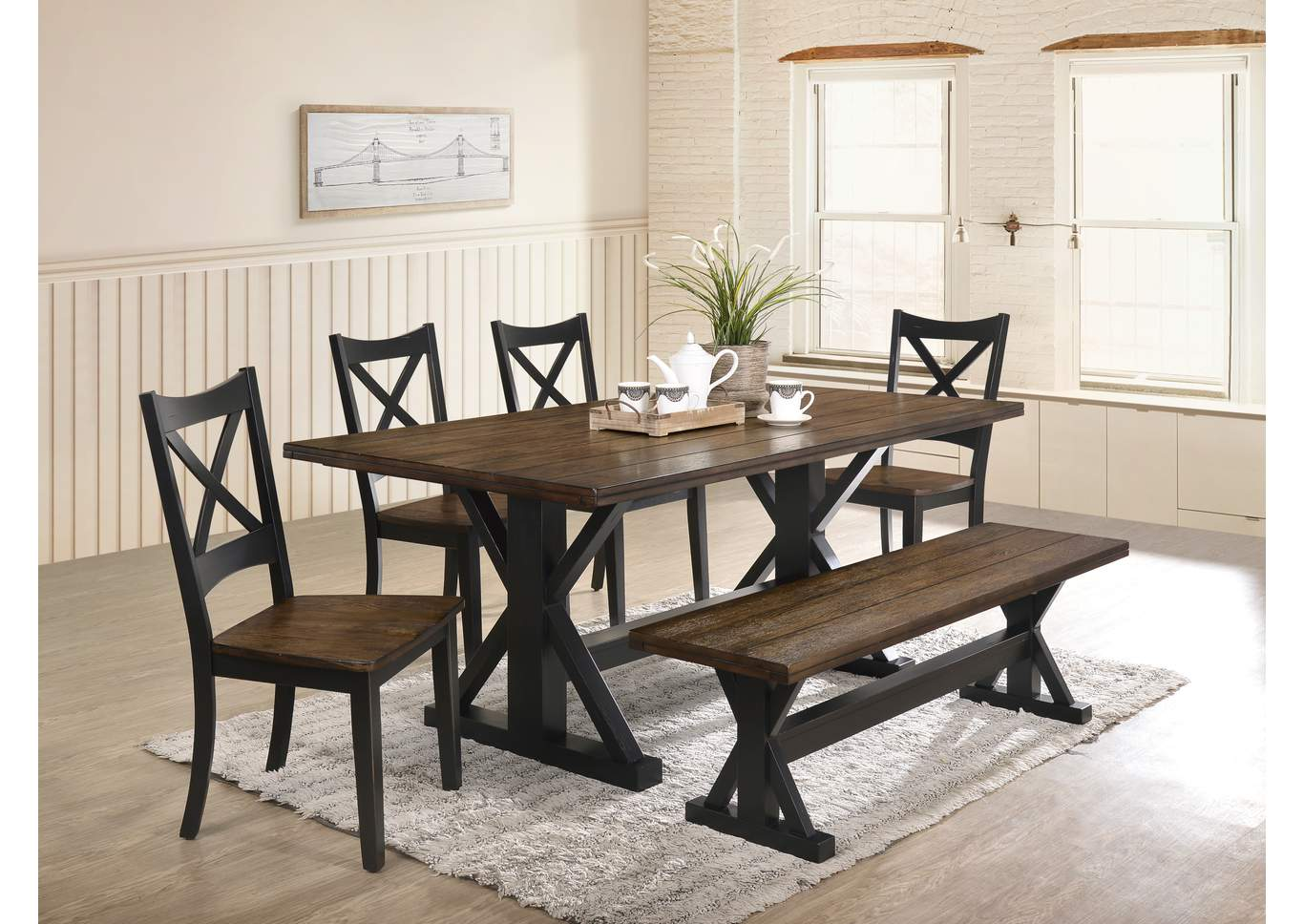 5015 Lexington Dining Table Black Rustic Oak Furniture City Dayton