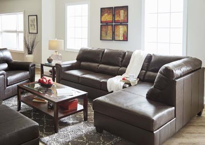 Image for 2038 Montego Two Piece Sectional with RAF Bump Chaise - Soft Touch Bark